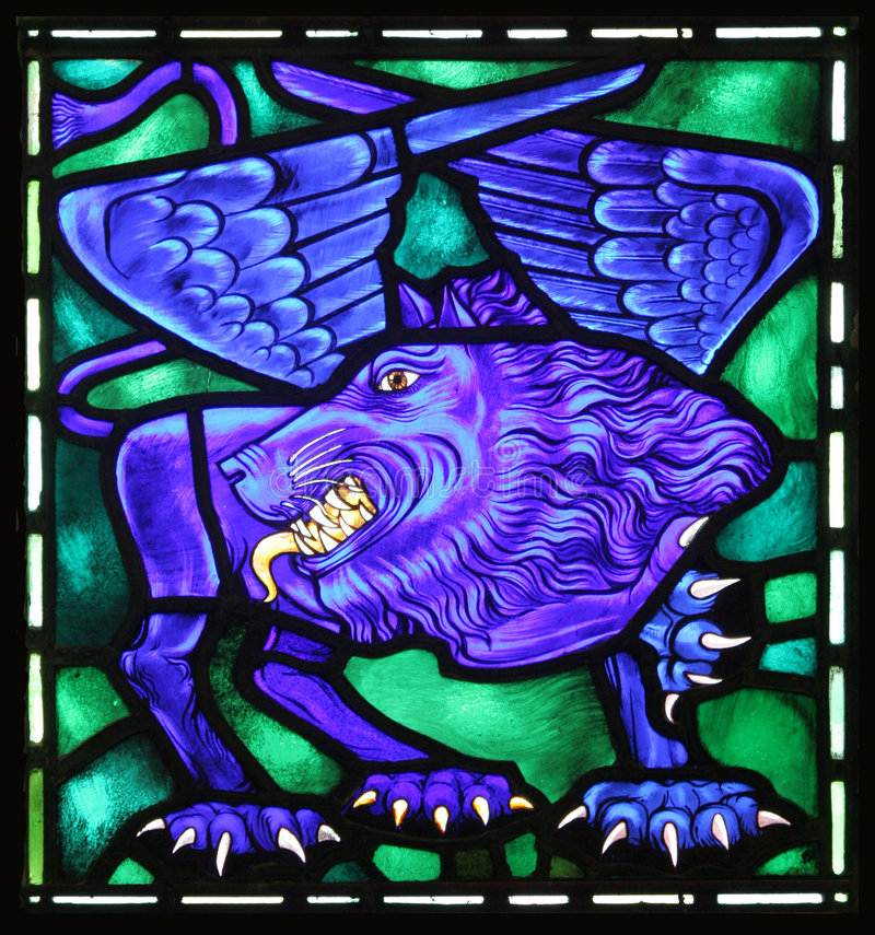 St. Mark's Winged Lion. The winged lion is the evangelical symbol of St. Mark. From an old stained glass window in an Anglican Church in Bermuda stock image
