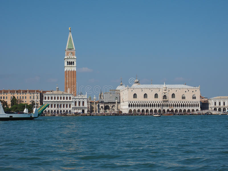 St Mark square seen fron St Mark basin in Venice. VENICE, ITALY - CIRCA SEPTEMBER 2016: Piazza San Marco (meaning St Mark square) seen from San Marco basin royalty free stock image