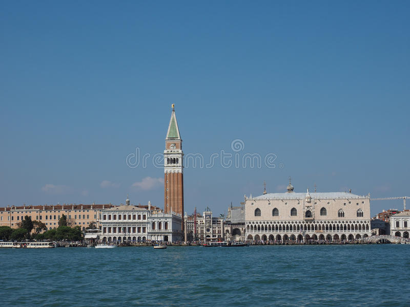 St Mark square seen fron St Mark basin in Venice. VENICE, ITALY - CIRCA SEPTEMBER 2016: Piazza San Marco (meaning St Mark square) seen from San Marco basin royalty free stock images