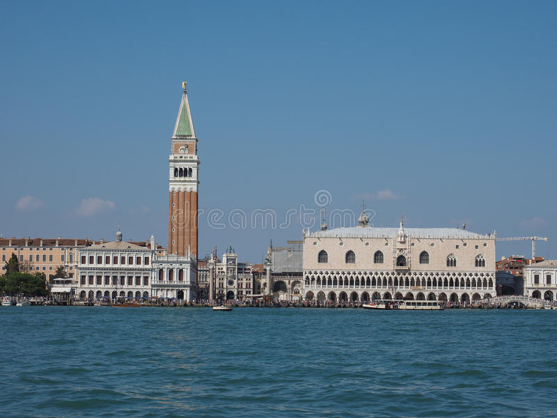 St Mark square seen fron St Mark basin in Venice. VENICE, ITALY - CIRCA SEPTEMBER 2016: Piazza San Marco meaning St Mark square seen from San Marco basin royalty free stock photos