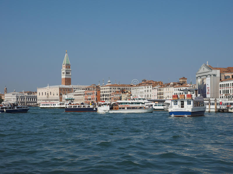 St Mark square seen fron St Mark basin in Venice. VENICE, ITALY - CIRCA SEPTEMBER 2016: Piazza San Marco meaning St Mark square seen from San Marco basin royalty free stock photography