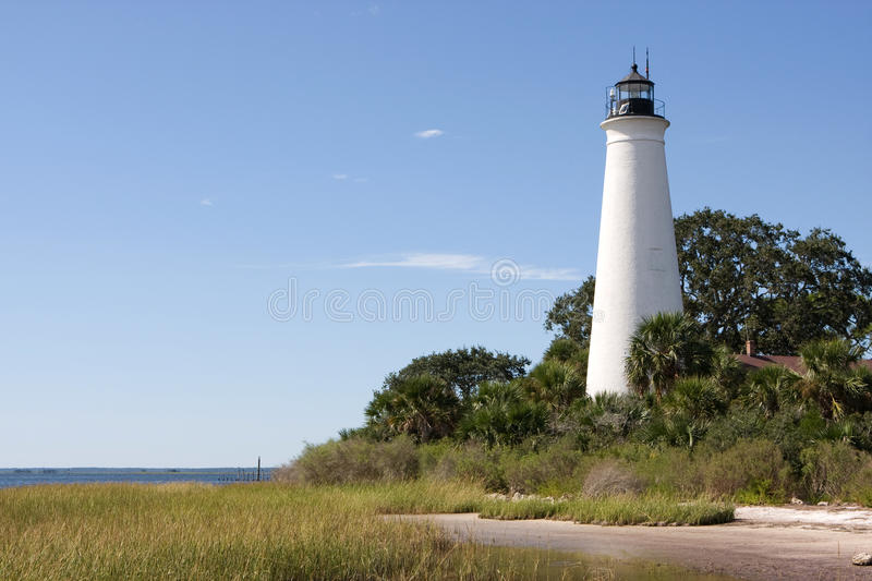 St Marks Lighthouse. Built in 1831 on the shores of Apalachee Bay, the St. Marks Lighthouse guides boaters to the entrance of the St. Marks River. It is located stock photos