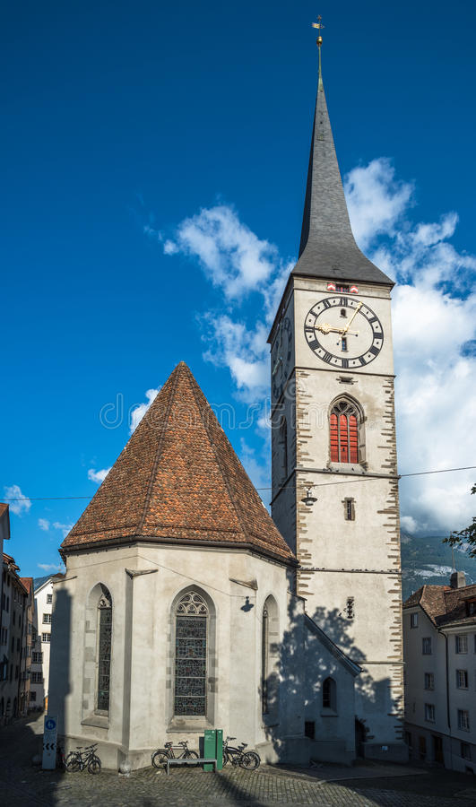 St.Martin Church in Chur, the oldest town of Switzerland. Beautiful St.Martin Church in Chur, the oldest town of Switzerland stock photography