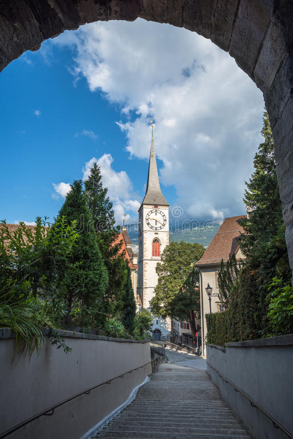 St.Martin Church in Chur, the oldest town of Switzerland. Saint Martin Church in Chur, the oldest town of Switzerland royalty free stock photography