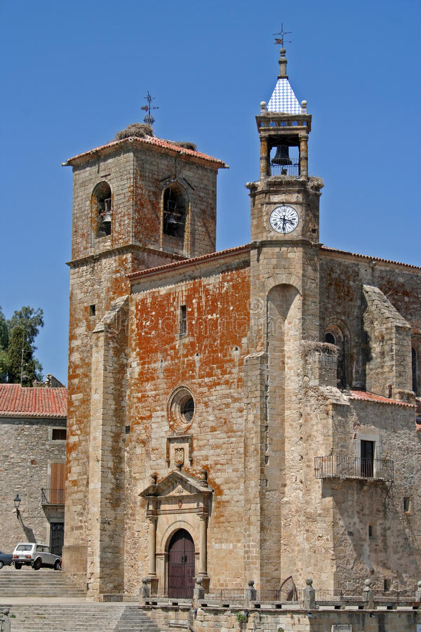 St. Martin Church. Church of St Martin in the major square of Trujillo, Spain royalty free stock photo