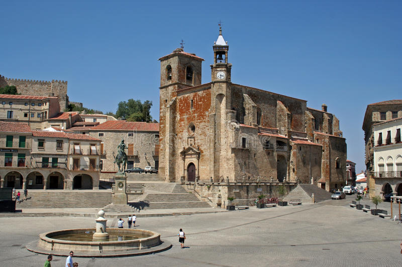 St. Martin Church. Church of St Martin in the major square of Trujillo, Spain royalty free stock images