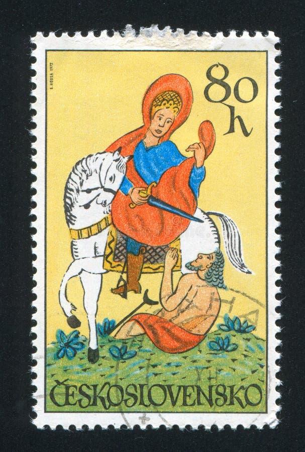 St Martin. CZECHOSLOVAKIA - CIRCA 1972: stamp printed by Czechoslovakia, shows St. Martin, circa 1972 royalty free stock photography