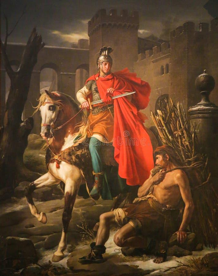 St Martin klipper ett stycke av hans kappa - målning i den Tours domkyrkan royaltyfri fotografi