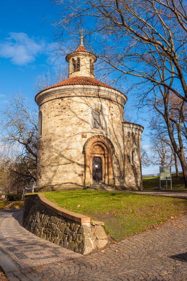 St Martin Rotunda in Vysehrad-fort, Praag, Tsjechische Republiek stock foto