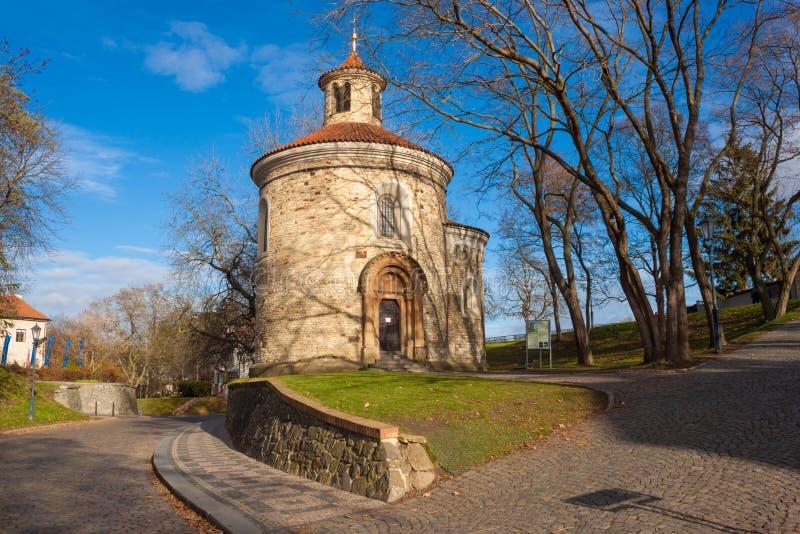 St Martin Rotunda in Vysehrad-fort, Praag, Tsjechische Republiek stock foto's
