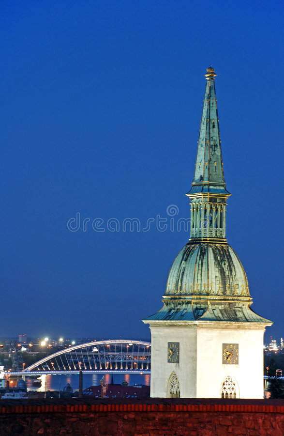 St. Martin's cathedral in Bratislava. Top of the St. Martin cathedral stock image