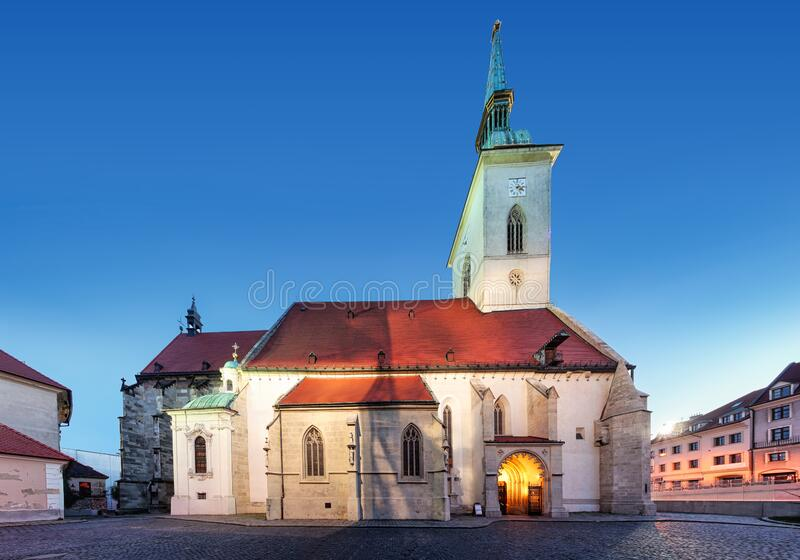 St. Martin`s Cathedral in Bratislava at night, Slovakia stock images