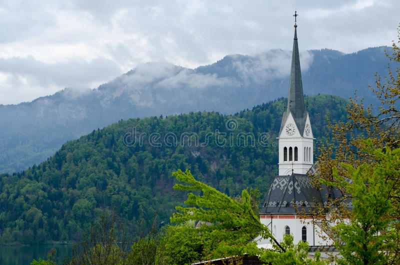 St Martin`s Church Spire, Bled royalty free stock photos