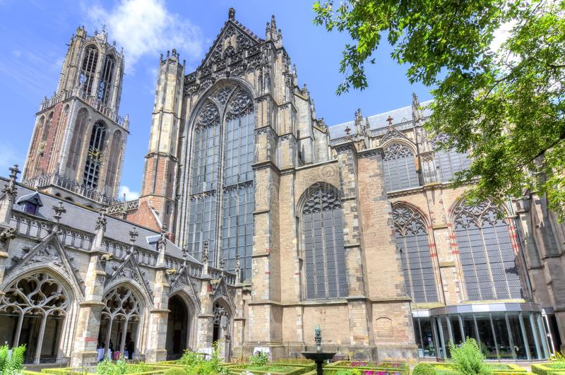 St Martin ` s Kathedraal op Centraal vierkant, Utrecht, Nederland royalty-vrije stock foto's