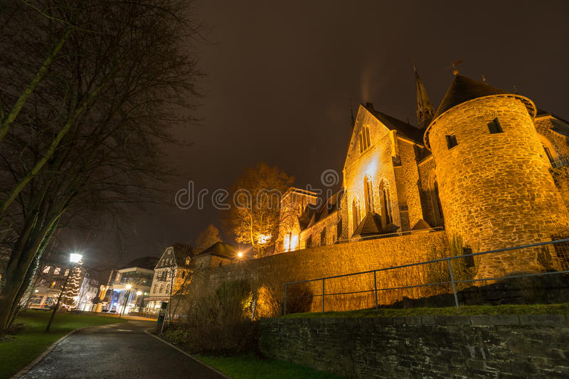 St martinus church olpe germany at night royalty free stock image