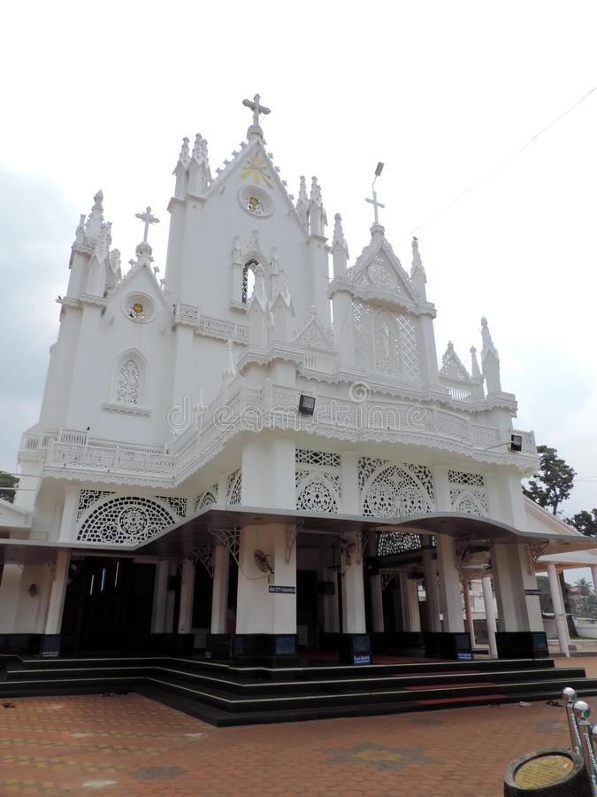 Church in Kerala, India. St. Mary's Jacobite Syrian Cathedral, also known as Manarcad Marth Maryam Cathedral, is a Syrian Orthodox church located near royalty free stock image