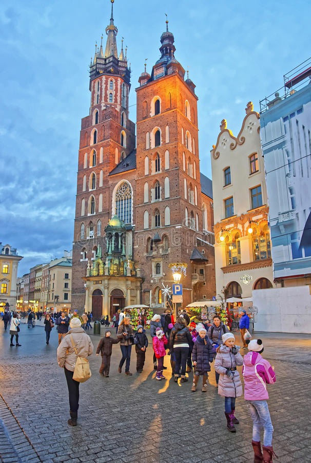 Free St Mary Basilica And Street Market In The Main Market Square Of Royalty Free Stock Image - 62082716