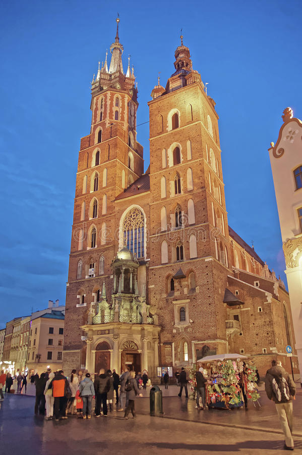 St Mary Basilica in the Main Market Square of the Old City in Kr. Akow in Poland at Christmas royalty free stock photography