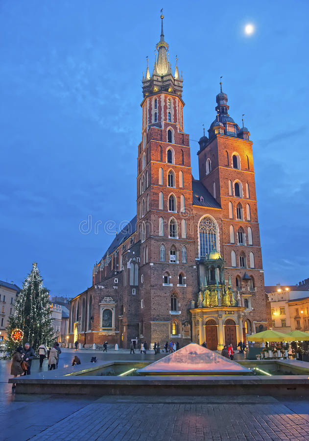 St Mary Basilica in the Main Market Square of the Old City in Kr. Akow in Poland at Christmas time royalty free stock image