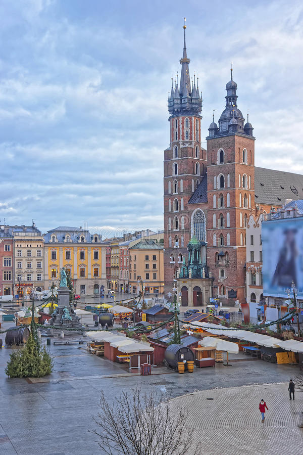 St Mary Basilica in the Main Market Square of the Old City in Kr. Akow in Poland at Christmas in winter royalty free stock images