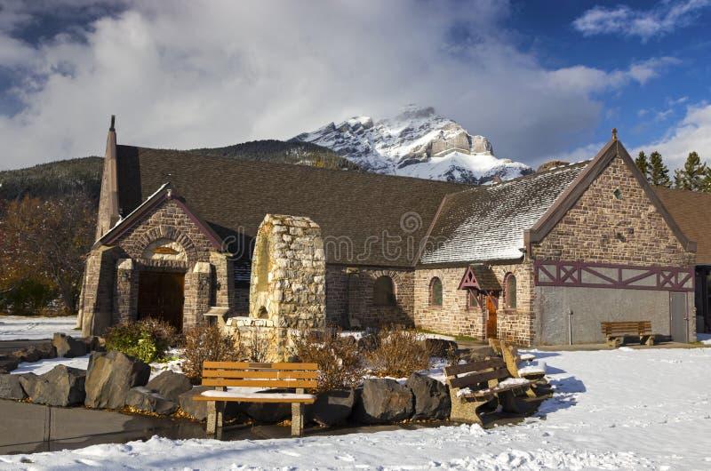 St. Mary Catholic Church in Banff Alberta Canada stockbild