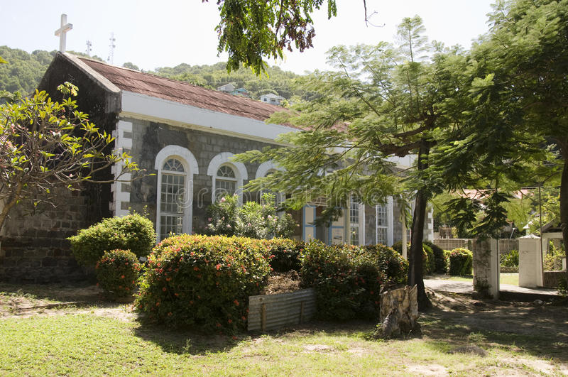 St. Mary chuch vincent bequia st. stock afbeelding