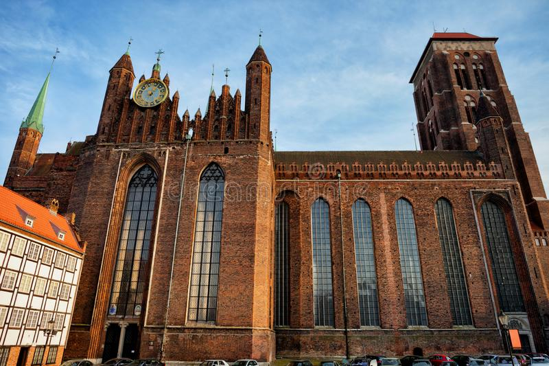 St. Mary Church in Gdansk. St. Mary Church Bazylika Mariacka in Gdansk, Poland, Basilica of the Assumption of the Blessed Virgin Mary, Gothic architecture city stock images