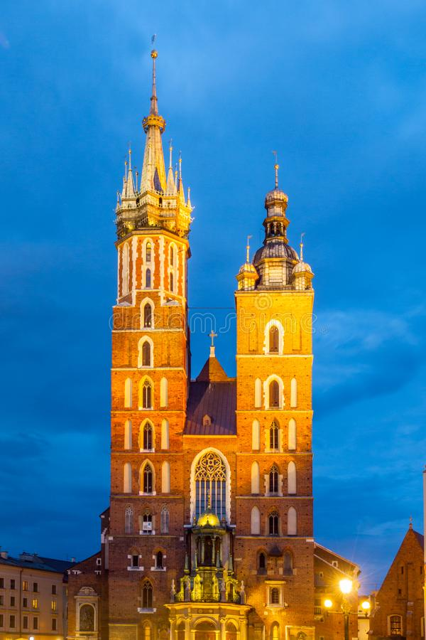 Free St. Mary Church With Two Towers By Night, Krakow, Poland Stock Image - 166368051