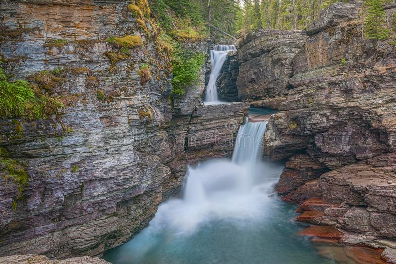 St Mary Falls Parque nacional de geleira montana EUA fotos de stock royalty free