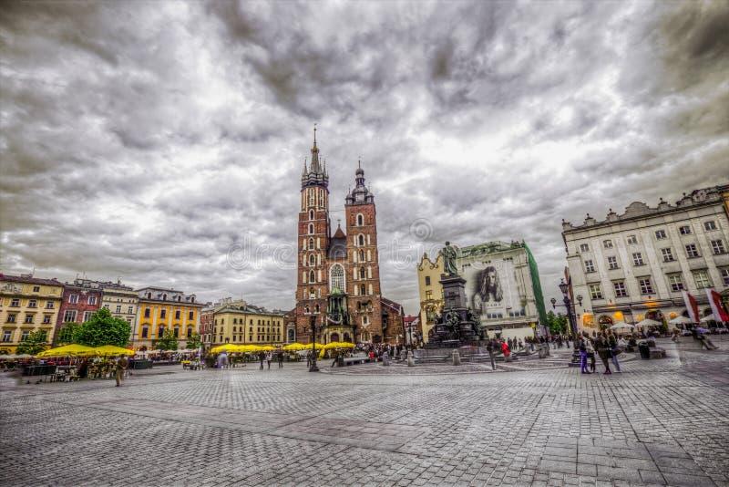 St Mary Gocki kościół w Krakow (Mariacki kościół) fotografia stock