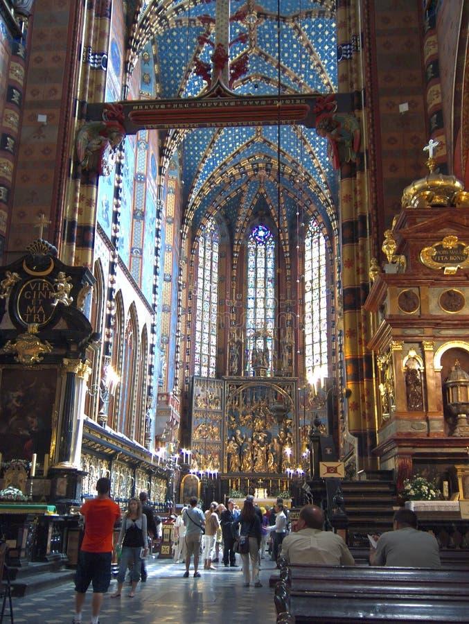 St Mary Kirche in Krakau lizenzfreies stockbild