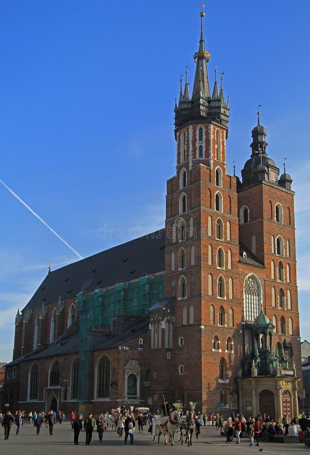 St Mary kościół, sławny punkt zwrotny w Krakow, Polska zdjęcie stock