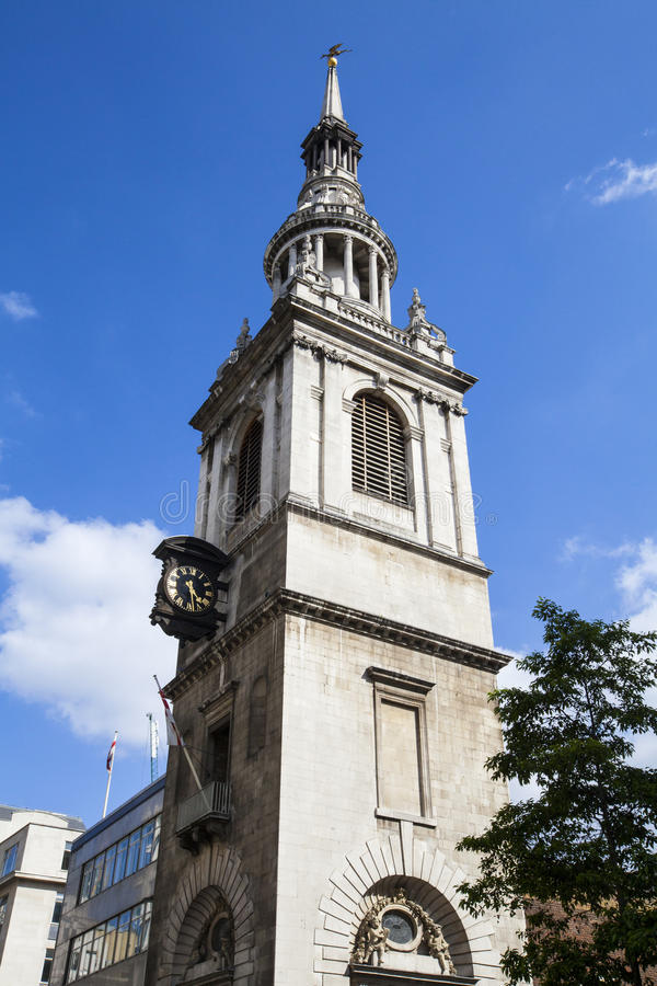 St-Mary-le-pilbåge kyrka i London arkivfoton