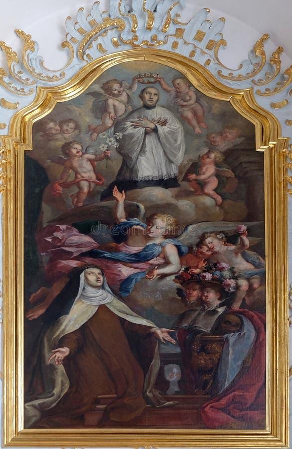 ST Mary Magdalene de Pazzi με το ST Aloysius που γονατίζει σε ένα σύννεφο, εκκλησία του ST Francis Xavier σε Λουκέρνη στοκ εικόνες