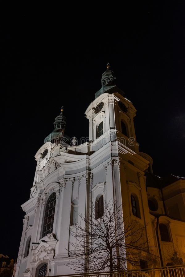 St Mary Magdalene`s Church at night. The St Mary Magdalene`s Church in downtown Karlovy Vary at night stock images