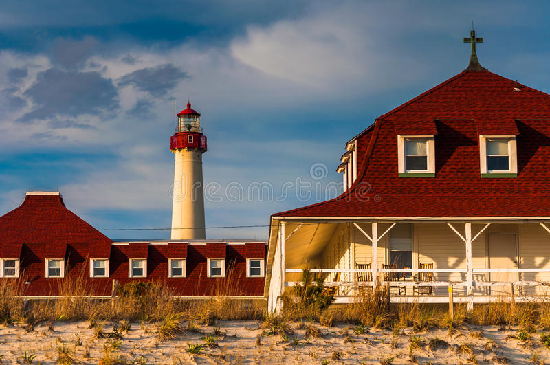 St Mary par la mer et le phare de point de Cape May, dans le cap M image stock