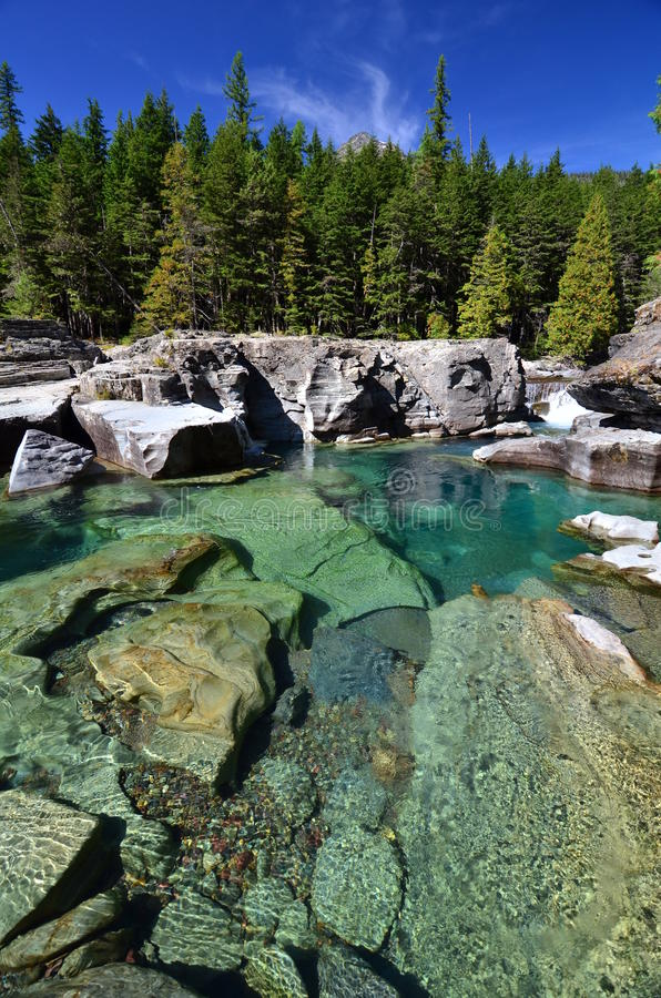 St. Mary River, het Nationale Park van de Gletsjer, Montana royalty-vrije stock fotografie