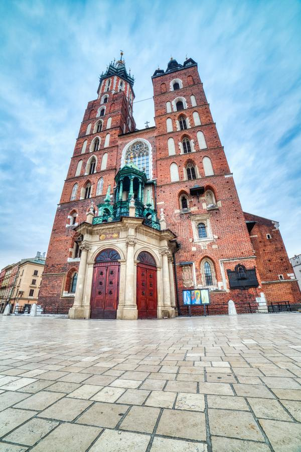 St. Mary`s Basilica on the Krakow Main Square during the Day, Krakow. Poland royalty free stock photos