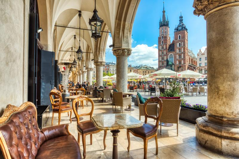 St. Mary`s Basilica on the Krakow Main Square during the Day, Krakow. Poland stock images