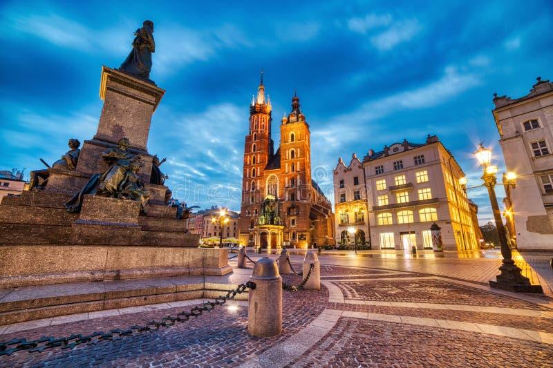 St. Mary`s Basilica on the Krakow Main Square at Dusk, Krakow. Poland royalty free stock photos