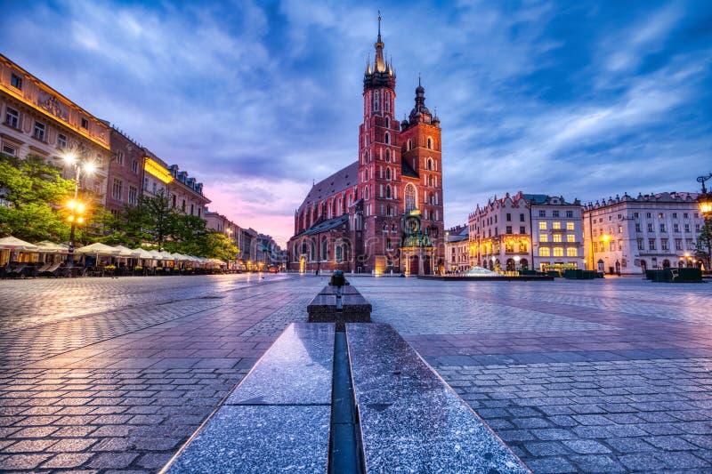 St. Mary`s Basilica on the Krakow Main Square at Dusk, Krakow. Poland royalty free stock photography