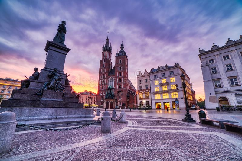 St. Mary`s Basilica on the Krakow Main Square at Sunrise, Krakow. Poland stock photo