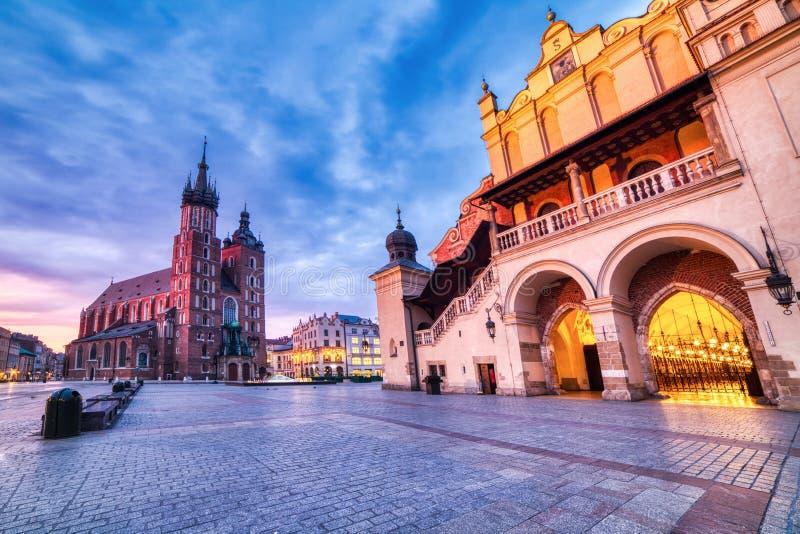 St. Mary`s Basilica on the Krakow Main Square at Sunrise, Krakow. Poland royalty free stock photos