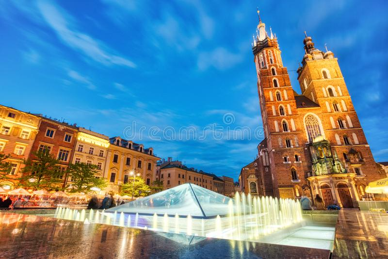 St. Mary`s Basilica on the Krakow Main Square at Sunrise, Krakow. Poland stock image