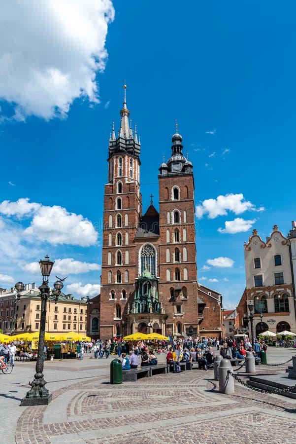 St Mary`s Basilica in the Main Market Square Krakow stock image