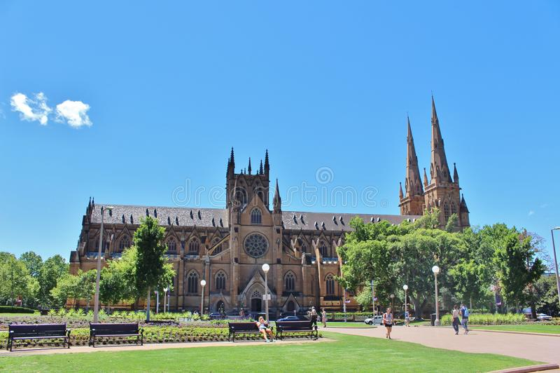 St. Mary`s Cathedral. Australia`s largest church and Sydney episcopal see. The current neo-gothic church, which was designed by William Wilkinson Wardell. The stock image