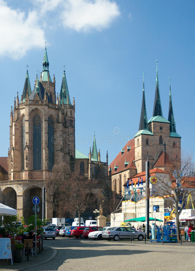 St. Mary's Cathedral and St. Severus' Church, Erfurt, Germany. Erfurt, Germany - April 10 2015: St. Mary's Cathedral (Dom St. Marien, 14th century) and St royalty free stock photography