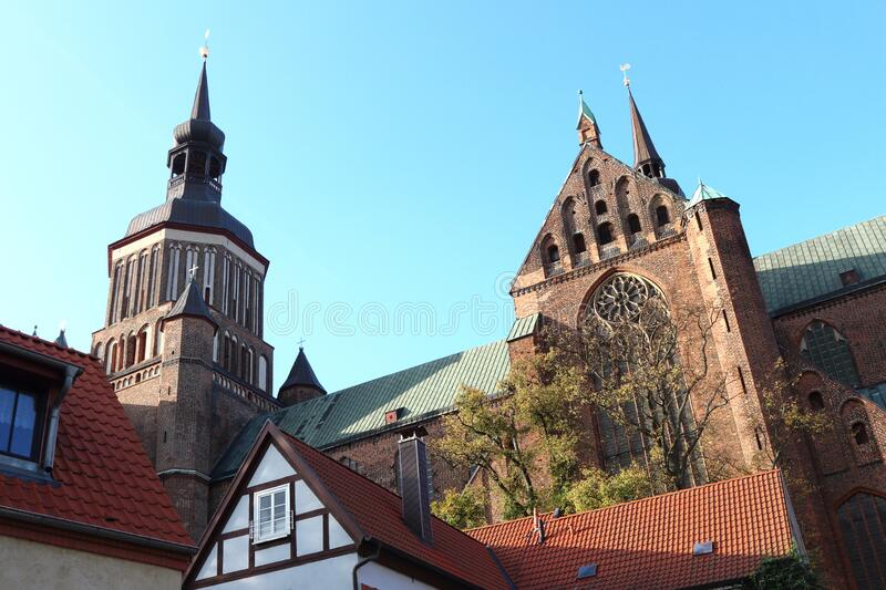 Saint Mary Church in Stralsund, Germany stock images