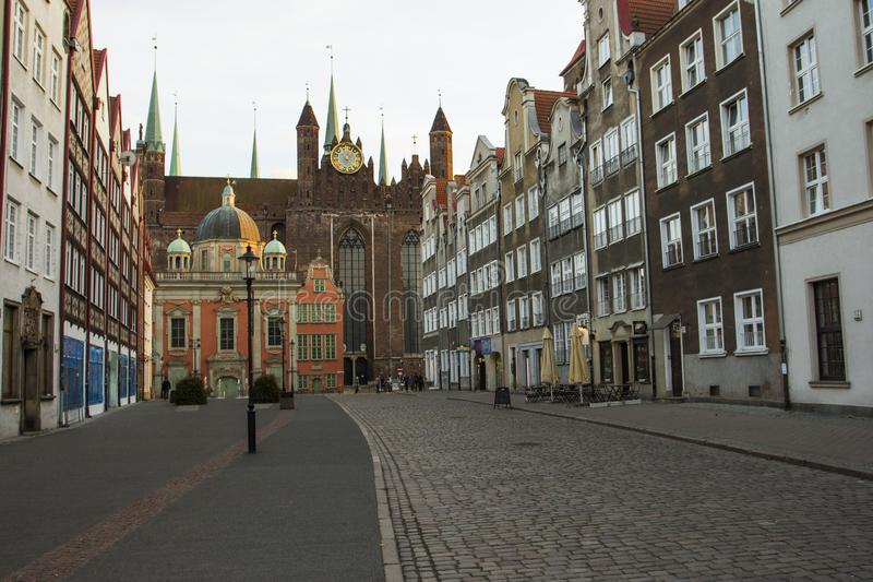 St. Mary`s Church and King`s Chapel in the Old Town in Gdansk. Poland royalty free stock images