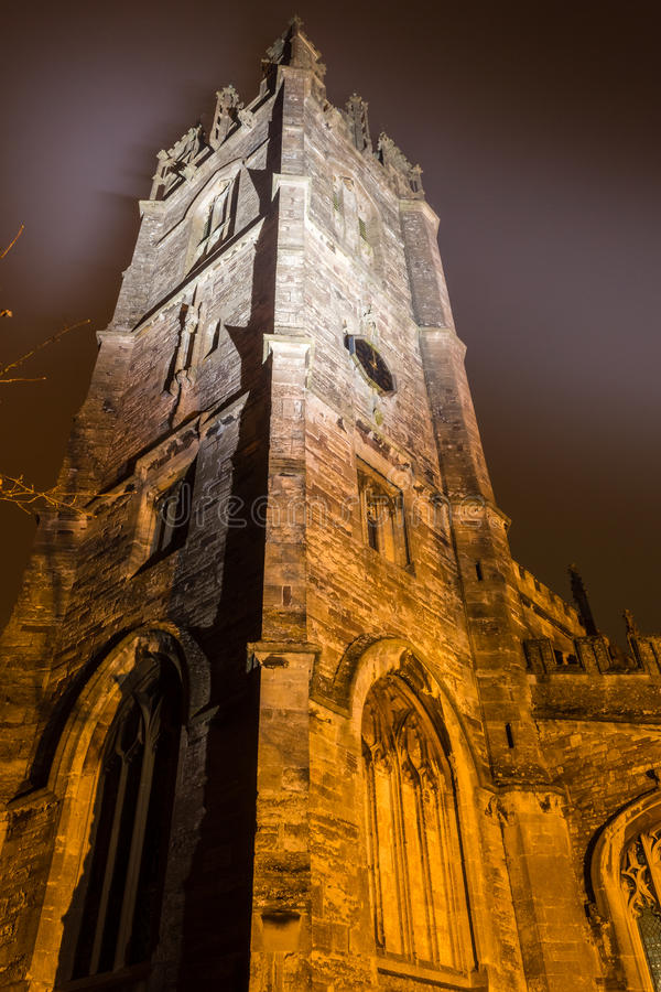 St. Mary's Church by night - tower B. ENGLAND, THORNBURY - 02 NOV 2015: St. Mary's Church by night - tower B royalty free stock images
